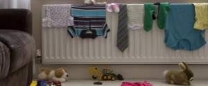 drying clothes on a heat radiator